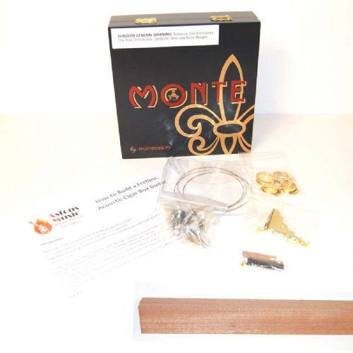 Cigar Box Guitar Kit 3 string Monte Cristo Black Box, Part and NECK